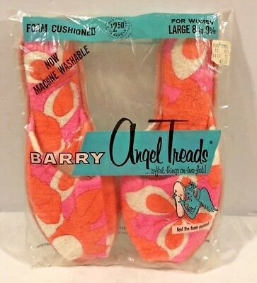 Vtg 1963 Barry Angel Treads Women's Slippers Pink/Orange Floral Sz L 8-9 1/2 USA
