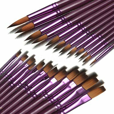 12 Purple POINTED ARTIST BRUSH SET Small/Large Art Paint Brushes Thin/Thick ZCT