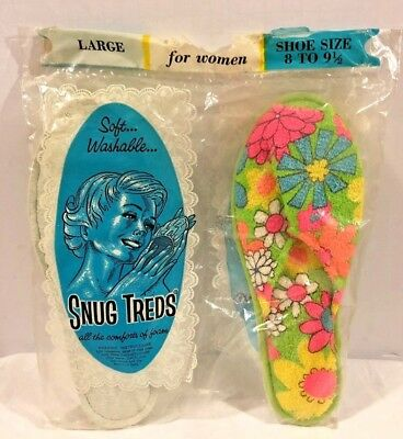 Vtg 60s Snug Treads Women's Foam Slippers Pink/Orange/Green Floral Sz L 8-9 1/2