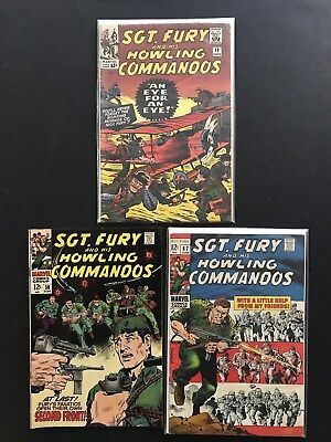 SGT. FURY AND HIS HOWLING COMMANDOS #19, 58 & 67. Marvel Silver Age Comics