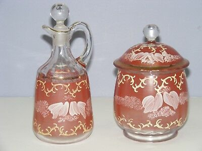 Antique Hand Painted Glass Cruet w/Stopper and Glass Sugar Dish w/Lid Set