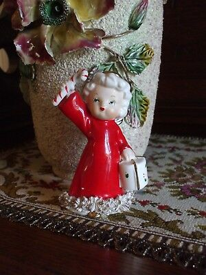 Vintage Christmas Angel Girl Figurine Spaghetti Trim Candy Cane Gift Package