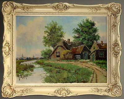 Antique Dutch Original Oil Painting Landscape, Signed J.Th. Unger, early 1900s