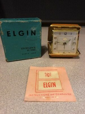 Vintage Deco Elgin Travel Alarm Clock Hard Clam Shell Germany Case Orange W/ Box