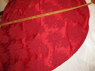 Red Christmas satin table cloth OVAL LARGE  Poiensetta PATTERN NICE!!