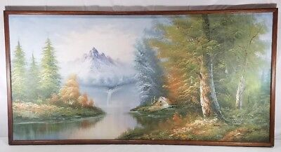 Vintage Cabin In The Mountains Landscape Painting, Signed Unknown Artist