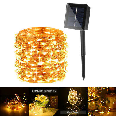 Solar Powered 50-200 LED Fairy Light String Lamp for Wedding Party Decor Outdoor