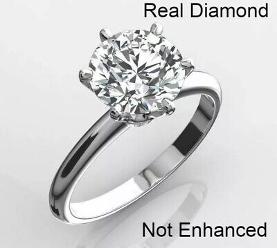 2.00 Ctw Gorgeous Round Cut Cert Genuine Diamonds Solitaire Ring 18K White Gold