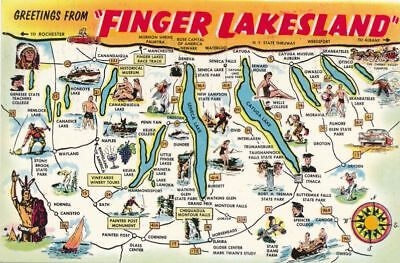 Greetings from Finger Lakesland NY, New York Postcard Map of Finger Lakes Region