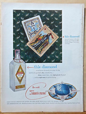 1953 magazine ad for Gilbey's Gin - Louis Phillippe of Orleans playing cards