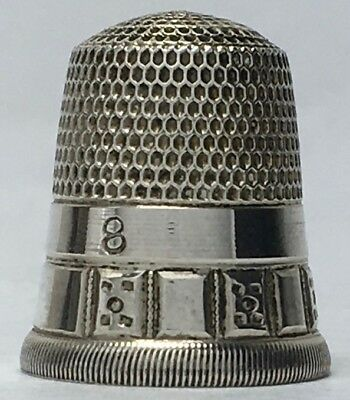 Simons Bros. 2 Band Silver Thimble - Repeating Squares - cat. #266 - Size 8