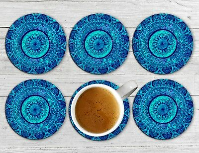Mandala Drink Coasters x 6 Non fade Grips Absorbent