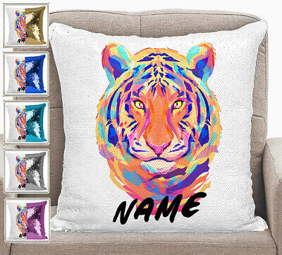 Personalised Tiger Magic Sequin Mermaid Pillow Cushion Cover 6 Colours