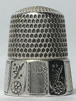 Simons Bros. Sterling Thimble - 10 Panel - Flower Blossom & Butterfly - Size 10