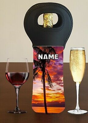 Beach Personalised Wine Bottle Cooler Carry Bag