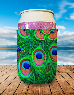 Peacock Feather Collapsible Stubby Holder Can Cooler