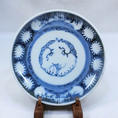 B456: Japanese plate of really old KO-IMARI blue-and-white porcelain in 18c 2