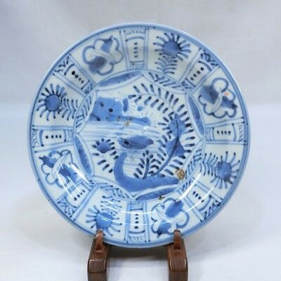 B457: Japanese old KO-IMARI blue-and-white porcelain plate of FUYO-DE in 18c.