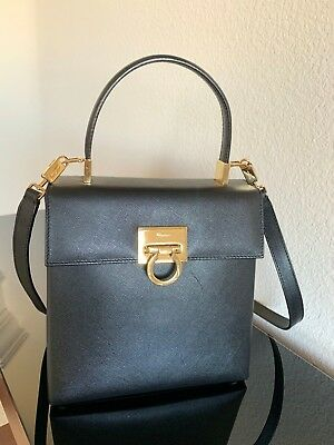 84295829299 AUTH SALVATORE FERRAGAMO Gancini Shoulder Bag Black Canvas Patent ...