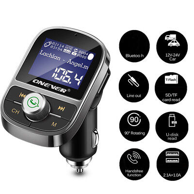 LCD Screen Car Handfree FM Transmitter 3.1A Dual USB Charger MP3 Player AUX-out
