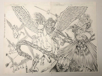 "ORIGINAL: JOHN STINSMAN LADY PENDRAGON #5 SIGNED SPLASH PAGE 4 and 5 (22 x 17"")"
