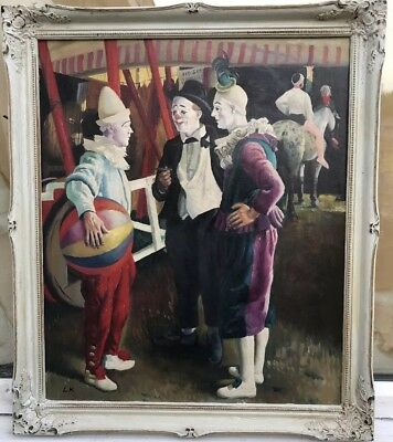 1960s MODERN BRITISH IMPRESSIONIST OIL PAINTING OF CLOWNS signed L.K