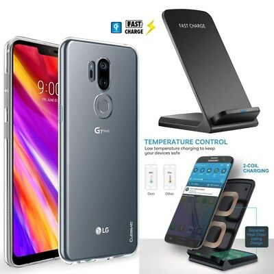 FAST QI WIRELESS Charger Dock + Crystal Clear Case Cover for LG G7 ThinQ  One Fit