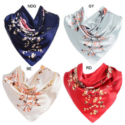 e9d9dad5a18 LADIES FLORAL BANDANA Square Head Neck Scarf Wrap Satin Silk 90cm ...