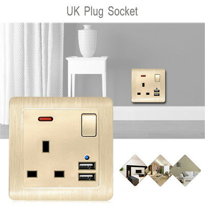 13A With 2 Usb White Plastic Single Wall Socket Plug Outlet Switch Port Lot