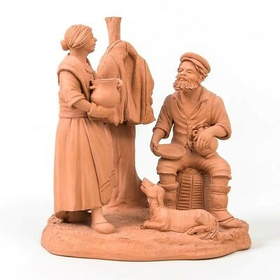 """Placenti Italian Earthenware Statue Fisherman Wife & Dog Red Clay Art Pottery 5"""""""