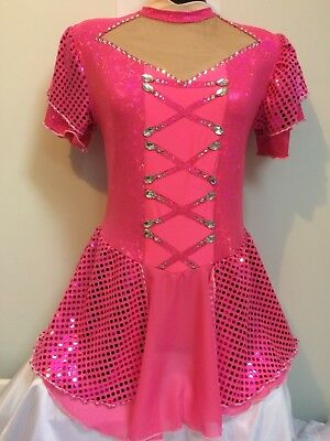 Ice skating dress, short sleeve, pink, gems, age, 11,12,13,14,