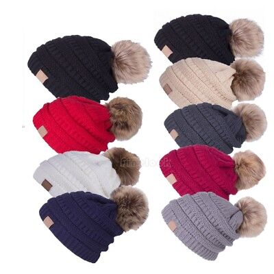 Cable Knitted Bobble Hat Plain Mens Womens Kids Beanie Warm Winter Pom Wooly Cap