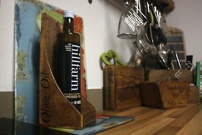 (NEW) Olive Oil Holder Box Display, Single/ Double Rustic Olive Oil Storage