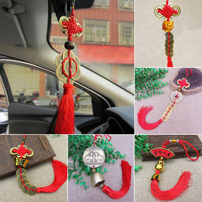 Fashion Feng shui Chinese Knot Lucky Pig Coin Tassel Pendant Car Hanging Decor