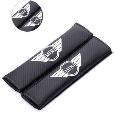 Carbon Fiber Car MINI Seat Safety Belt Cover Shoulder Pads 2 pcs