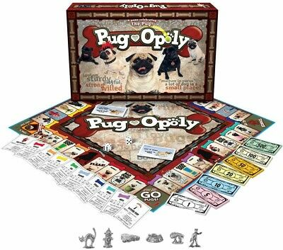 Pug-Opoly Family Board Game Monopoly Style Dogs NEW