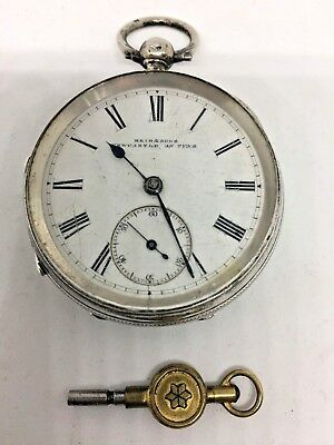 Antique Silver Pocket Watch Fusee Movement 1889 Fully Working Order