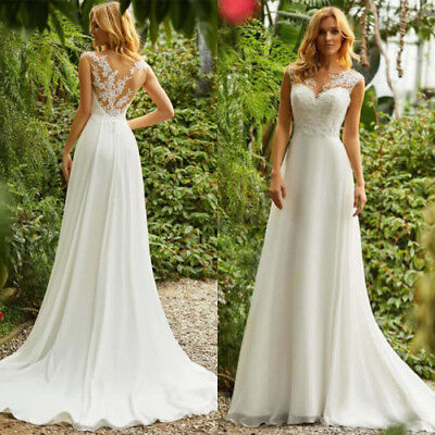 New Boho Wedding Dresses A-Line Applique Chiffon Beach Bridal Gowns Custom