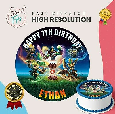 Skylander Imaginators Edible Round Birthday Cake Topper Decoration Personalised