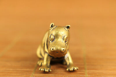 chinese old brass hand carved hippo statue netsuke collectable