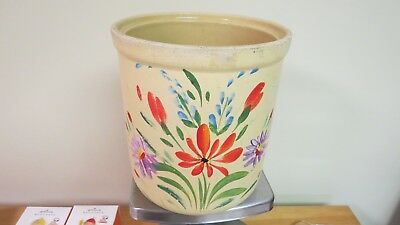 Vintage Antique Old Medium Yellow  Crock Hand Painted Flowers No Lid