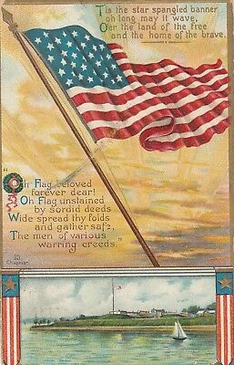 American Flag, PU-1909; Water scene and poems