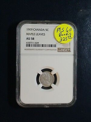 1909 Canada Five Cents NGC AU58 MAPLE LEAVES SILVER 5C Coin PRICED TO SELL!