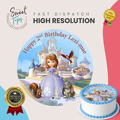 Tremendous Sofia The First Edible Round Birthday Cake Topper Decoration Personalised Birthday Cards Cominlily Jamesorg