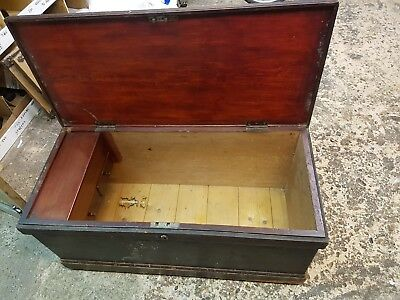 Large Antique Vintage Victorian Wooden Old Blanket Box Chest Trunk Storage Toy