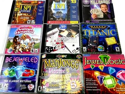 Lot of 9 PC Windows Video Games Mahjongg, Hidden Objects, Bejeweled, + More