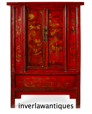Large Chinese Qing Dynasty Red Laquer 2 Door Cabinet