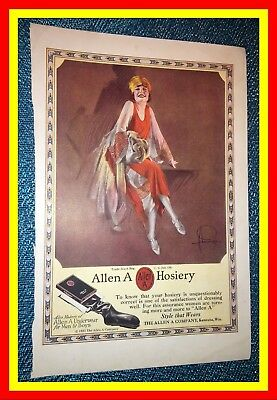 1920s Allen A. Hosiery Rolf Armstrong COLOR Vintage Ad Flapper STYLE THAT WEARS