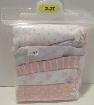 Joe Boxer Toddler Girls briefs panties 5 pair Size 2-3T pink white hearts 9-7BB7