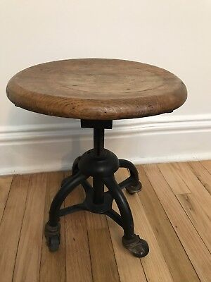 Antique S Bent and Bros Piano Stool Industrial Stool Metal Wood Steampunk